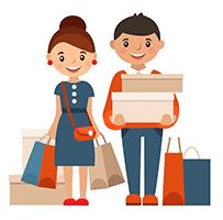 Люди с покупками