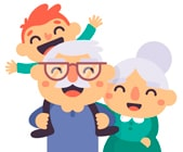 Пенсионеры и внук